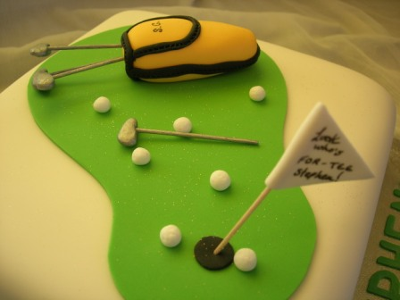 Close-up of golf-themed cake