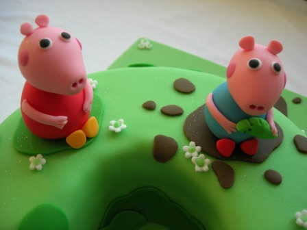 Close-up of Peppa Pig cake