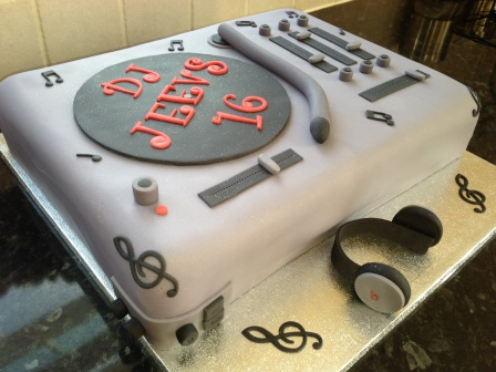 Close-up of music deck birthday cake