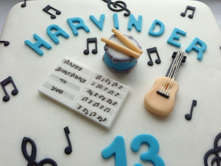 Close-up of musical birthday cake