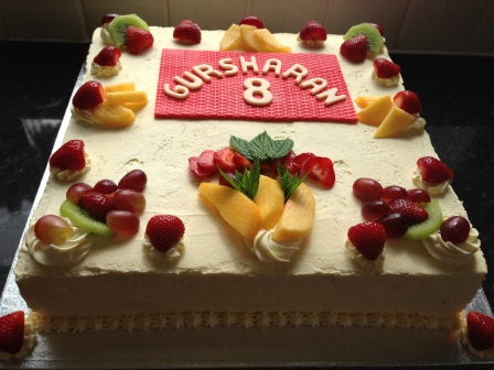 Fruit & cream birthday cake
