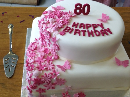 Flowers 80th birthday cake