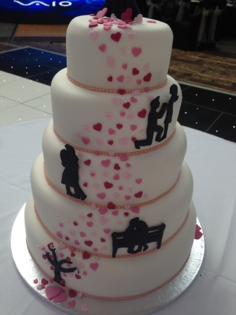 Close-up of Love Story wedding cake