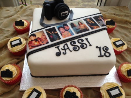 Photography-themed birthday cake