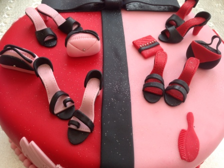Close-up of handbag & shoe cake